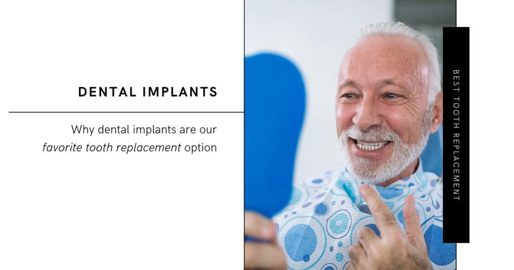 Best Tooth Replacement Options Man Looking at Teeth in Mirror